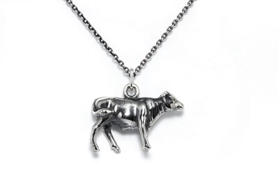 Sterling silver women's calf necklace